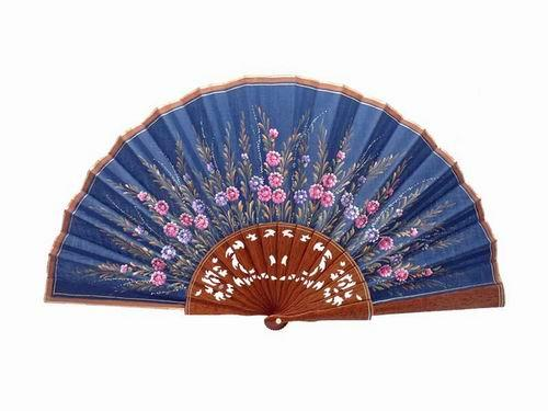 Navy Blue Lace Lacquered Sipo Wood Fan With Small Flowers and Wheat Ears. D12. 50X27cm