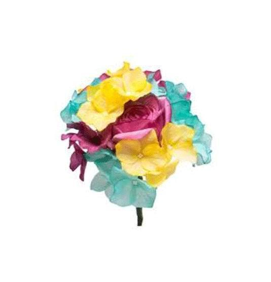 Yellow Green Purple Multicoloured Bouquet. Ref. 67T184. 20cm