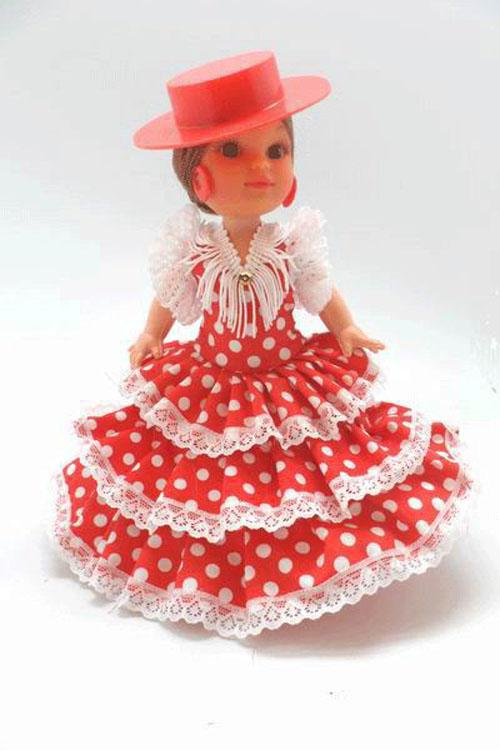 Flamenco Dolls with Red with White Dots Dress and Red Cordobes Hat. 25cm