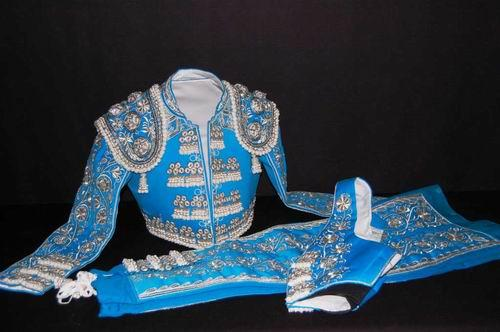 Authentic bullfighter costume. Blue and Silver