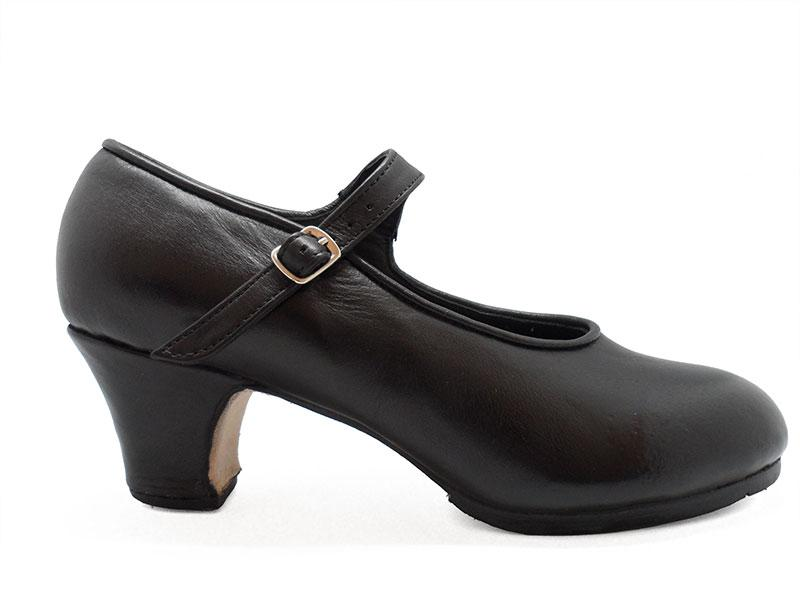 Black Leather Semi-Professional  Flamenco Shoes Mercedes. Flamencoexport