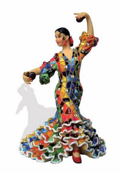 Flamenca with mosaic costume. Barcino. Multicolor