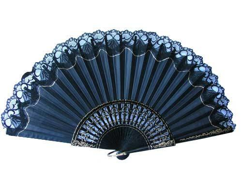 Black fans with lace and gold paintings