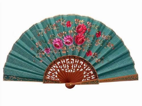 Green Fan with Hand Painted Flowers and Polished Pear Wood Lace Ribs. 45X25cm