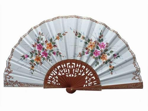 Beige Fan with Hand Painted Flowers and Polished Pear Wood Lace Ribs. 45X25cm
