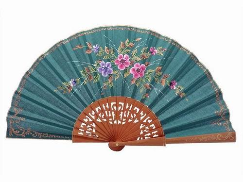 Green Fan with Hand Painted Small Flowers and Polished Pear Wood Lace Ribs. 45X25cm