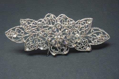 Silvery brooch with flowers and leaves Ref.29672