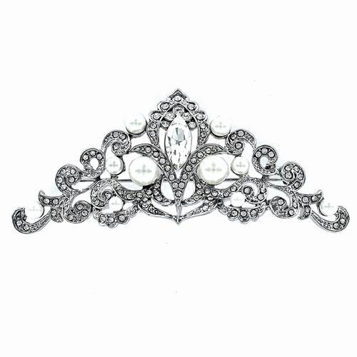 Silver Costume Jewelry Zirconia and Pearl Brooch. Ref.301