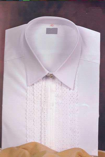 White Shirt for him with Double Embroidered Strip.Mod.M60