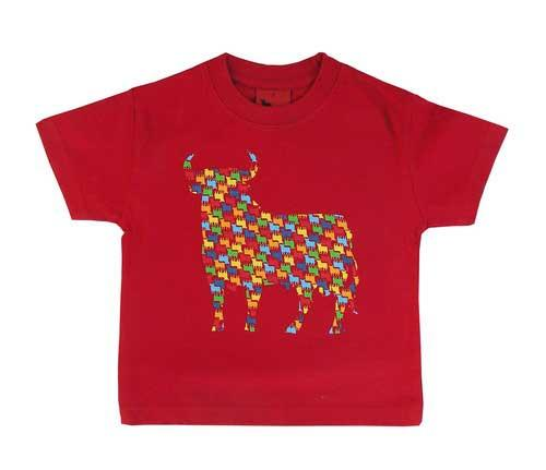 T-shirts for children. Osborne bulls in colours. Red