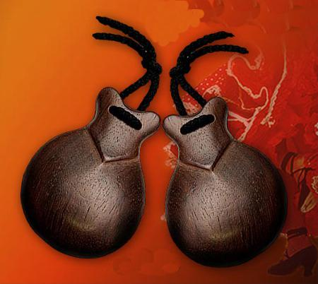 Flamenco Castanets Brown Rosewood Imitation.