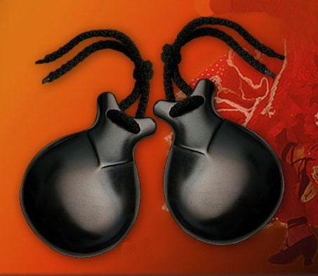 professional Black fibreglass flamenco castanets