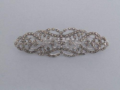 Fretwork Oval Marcasita and silver brooch