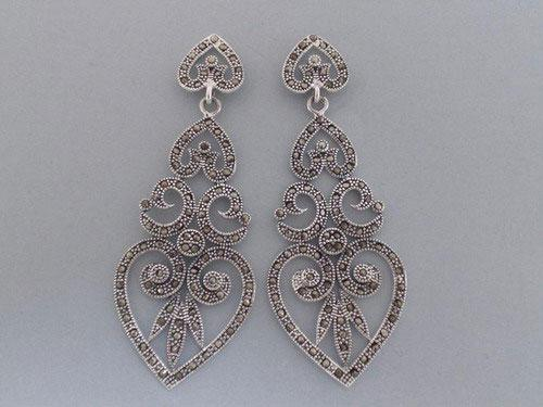 Marcasitas and silver earrings in shape of heart