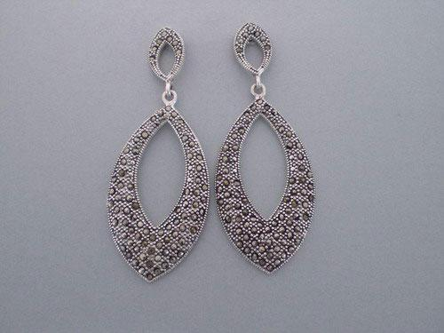 Silver and marcasitas earrings in shape of ogival