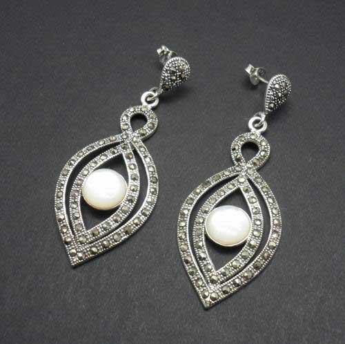 Marcasite Earrings with Nacre Double Ogival Shape