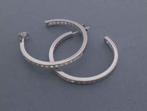 Hooped earrings with white zircons 4cm