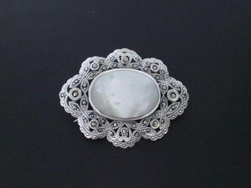 Silver and marcasitas Brooch with mother-of-pearl