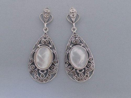 Openwork Silver and Marcasite Earrings