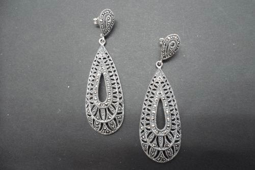 Fretwork Silver and Marcasite Stone Earrings. 6cm