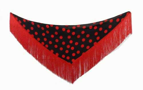 Small Black Shawl with Red Polka Dots
