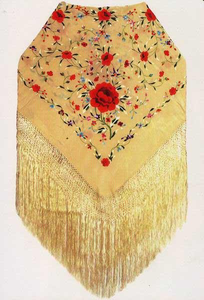 Handmade Silk Embroidered Shawl  ref. 1010214
