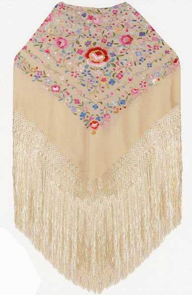 Handmade Embroidered Shawl of Natural Silk. Ref. 1010612