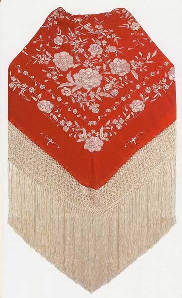 Handmade Manila Embroidered Shawl. Natural Silk. Ref.1011085