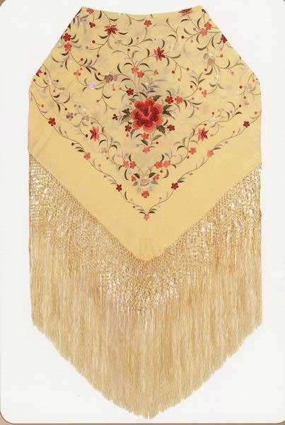 Handmade Silk Embroidered Shawl. ref. 1011107