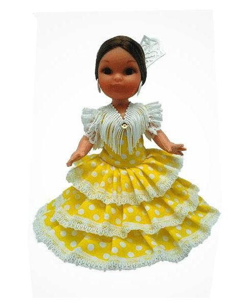 Flamenca Doll with Comb and Yellow Dress with White Polka dots. 25cm