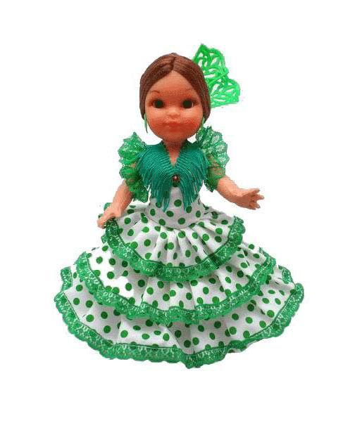 Flamenca Doll with Comb and White Dress with Green Polka Dots. 25cm