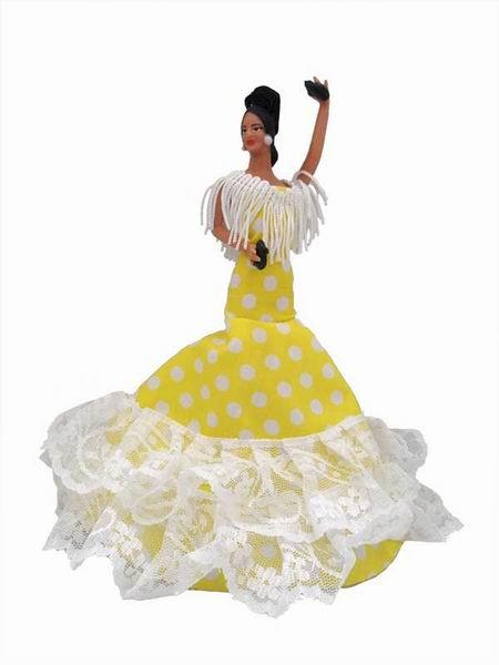 Flamenco Gipsy Doll with White Polka Dots Yellow Dress. 20cm