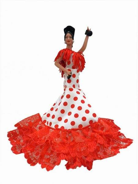 Flamenco Gipsy Doll with Red Polka Dots White Dress. 20cm