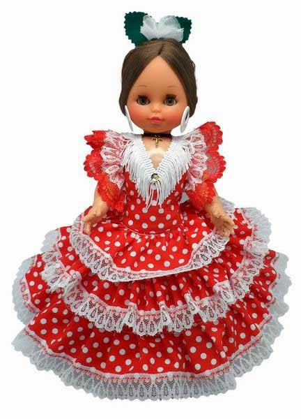 Spanish Flamenco Dolls Red Dress White Dots. 35cm.
