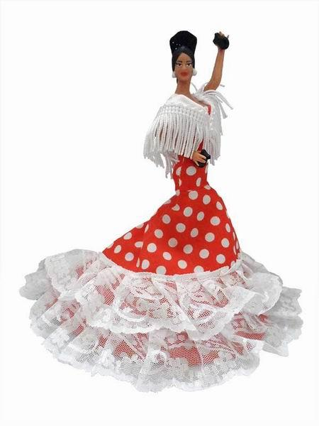 Flamenco Gipsy Doll with Long-tailed White Polka Dots Red Dress. 20cm