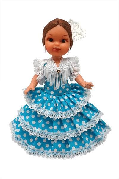 Flamenca Doll with Comb and Turquoise Dress with White Polka dots. 25cm