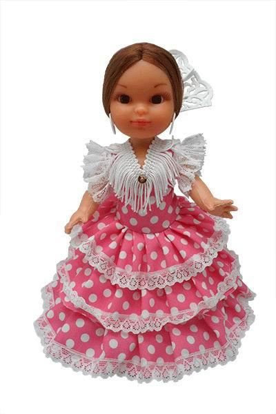 Flamenca Doll with Comb and Fuchsia Dress with White Polka dots. 25cm