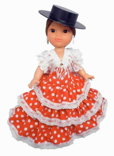 Flamenco doll with Red Dress White Dots and Black Hat. 25cm
