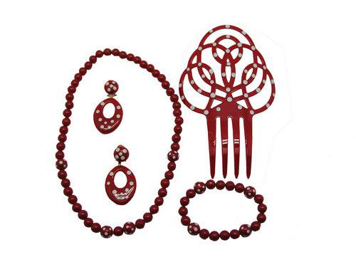 Set of flamenco accessories for girls. Red