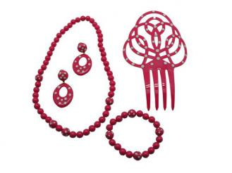 Fuchsia Set of Flamenco Accessories for Girls.