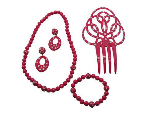 Set of flamenco accessories for girls. Fuchsia