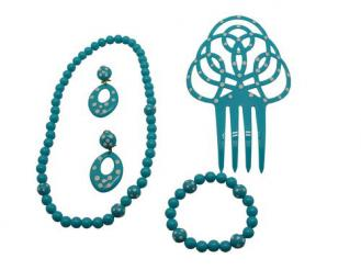 Set of flamenco accessories for girls. Turquoise