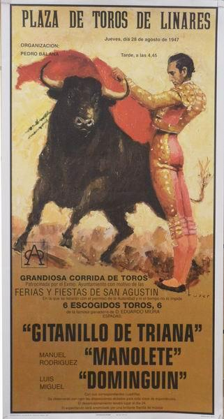 Bull-fighting Poster. Historic. Gitanillo de Triana, Manolete, Dominguin