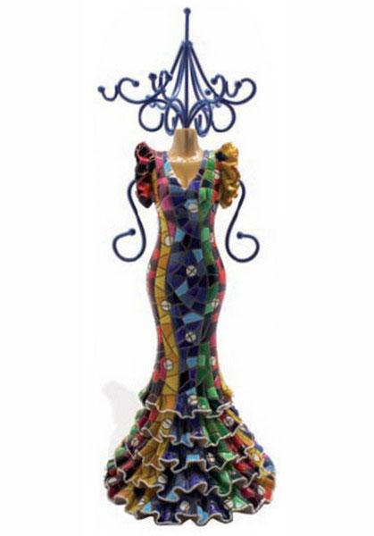 Mosaic flamenco Mannequin. Necklace holder. 27 cm