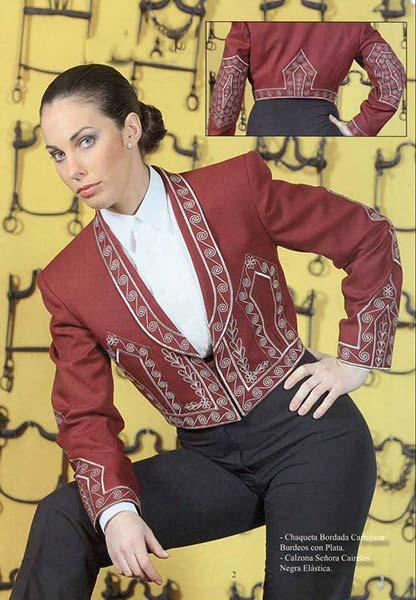Maroon and silver Cartujana embroidery jacket and calzona with fringe for caireles. Riding costume