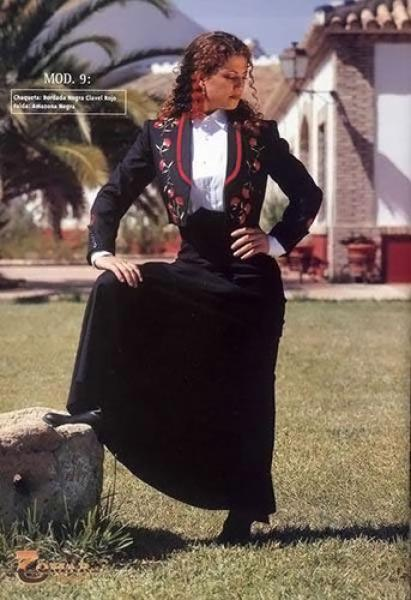 Embroidery Jacket for Horsewoman in Black with Red Carnation and Black Skirt for Horsewoman