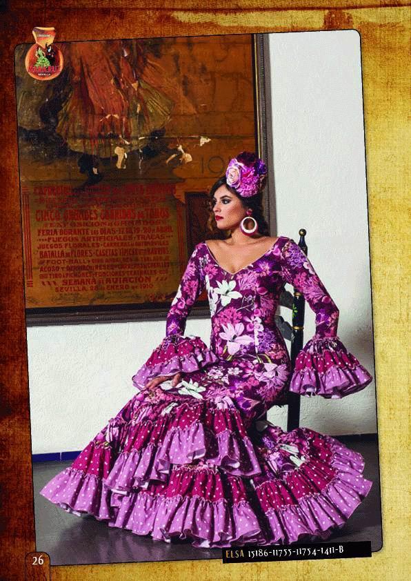 Traje de Flamenca. Modelo Elsa Flores Fucsia. 2018-2019