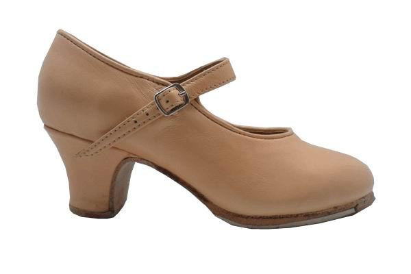 Beige Leather Semi-Professional Flamenco Shoes by Flamencoexport