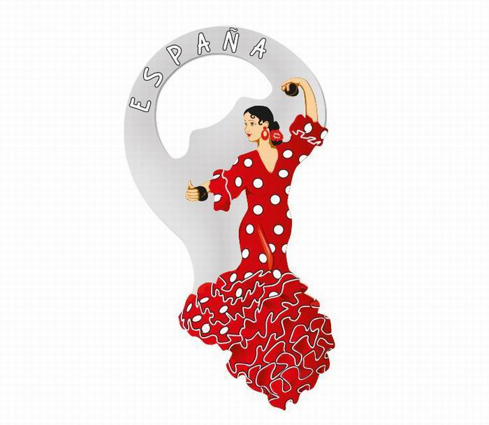 Bottle opener magnet red flamenco dancer