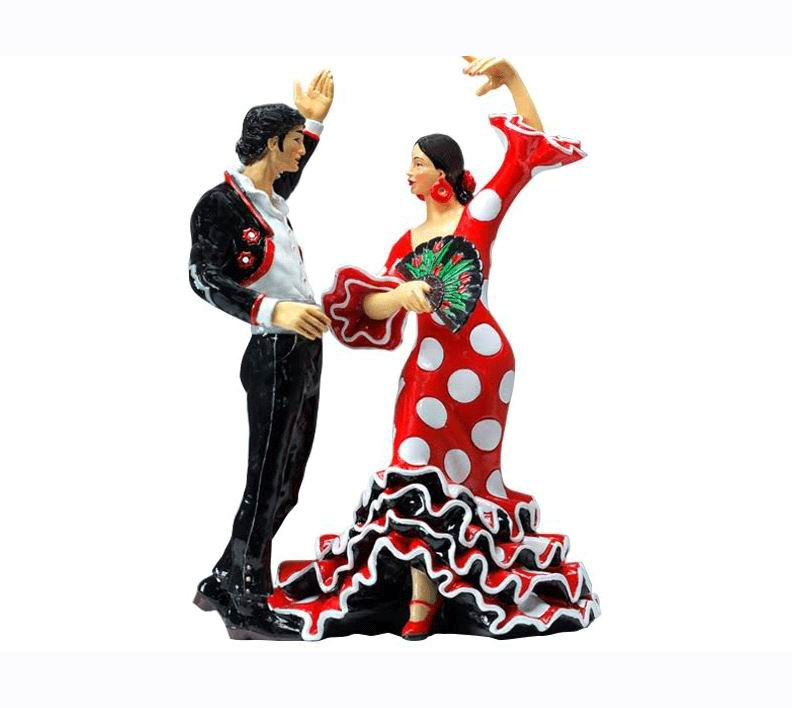 Couple of Flamenco Bailaores in a Red Dress with White Polka Dots